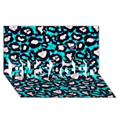 Turquoise Black Cheetah Abstract  ENGAGED 3D Greeting Card (8x4)