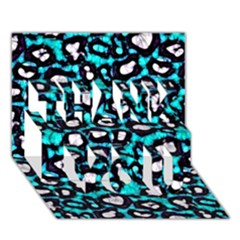 Turquoise Black Cheetah Abstract  Thank You 3d Greeting Card (7x5)