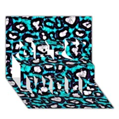Turquoise Black Cheetah Abstract  Get Well 3d Greeting Card (7x5)