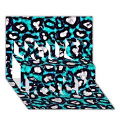 Turquoise Black Cheetah Abstract  You Rock 3D Greeting Card (7x5)