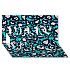 Turquoise Black Cheetah Abstract  Merry Xmas 3d Greeting Card (8x4)