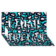 Turquoise Black Cheetah Abstract  Laugh Live Love 3D Greeting Card (8x4)