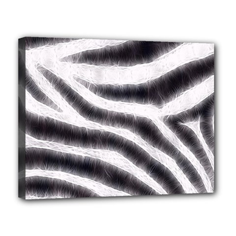Black&white Zebra Abstract Pattern  Canvas 14  X 11