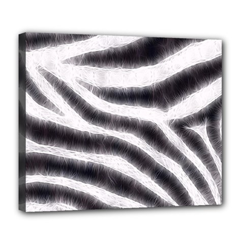 Black&White Zebra Abstract Pattern  Deluxe Canvas 24  x 20