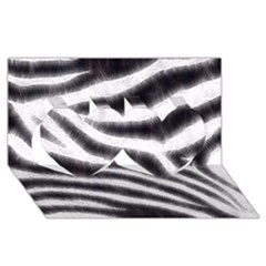 Black&White Zebra Abstract Pattern  Twin Hearts 3D Greeting Card (8x4)