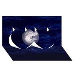 Moon And Stars Twin Hearts 3d Greeting Card (8x4)