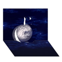 Moon and Stars Apple 3D Greeting Card (7x5)
