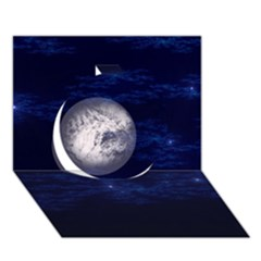 Moon And Stars Circle 3d Greeting Card (7x5)
