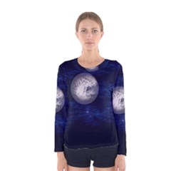 Moon And Stars Women s Long Sleeve T Shirts