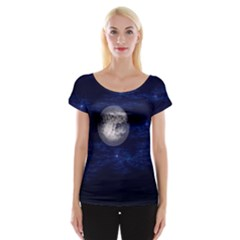 Moon And Stars Women s Cap Sleeve Top