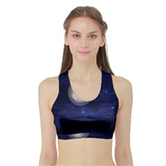Moon And Stars Women s Sports Bra With Border