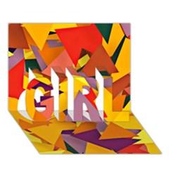 Geo Fun 8 Colorful GIRL 3D Greeting Card (7x5)