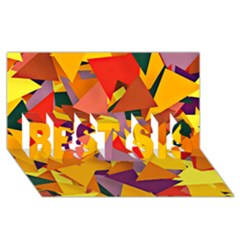 Geo Fun 8 Colorful BEST SIS 3D Greeting Card (8x4)