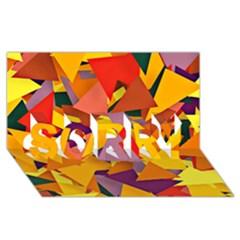 Geo Fun 8 Colorful Sorry 3d Greeting Card (8x4)