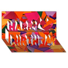 Geo Fun 8 Hot Colors Happy Birthday 3d Greeting Card (8x4)