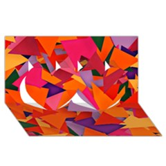 Geo Fun 8 Hot Colors Twin Hearts 3D Greeting Card (8x4)
