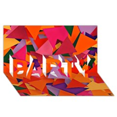 Geo Fun 8 Hot Colors PARTY 3D Greeting Card (8x4)