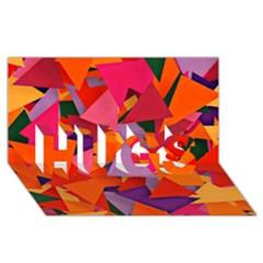 Geo Fun 8 Hot Colors HUGS 3D Greeting Card (8x4)