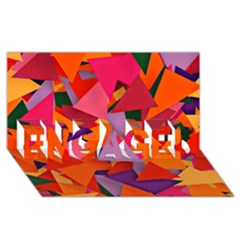 Geo Fun 8 Hot Colors Engaged 3d Greeting Card (8x4)
