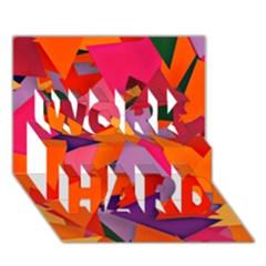 Geo Fun 8 Hot Colors Work Hard 3d Greeting Card (7x5)