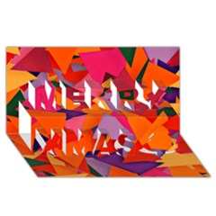 Geo Fun 8 Hot Colors Merry Xmas 3d Greeting Card (8x4)