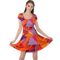Geo Fun 8 Hot Colors Cap Sleeve Dresses
