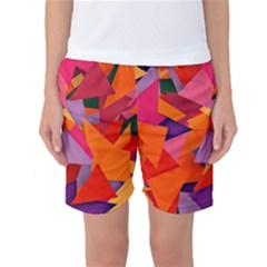 Geo Fun 8 Hot Colors Women s Basketball Shorts