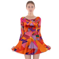 Geo Fun 8 Hot Colors Long Sleeve Skater Dress