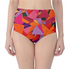 Geo Fun 8 Hot Colors High-Waist Bikini Bottoms