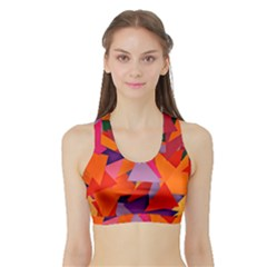 Geo Fun 8 Hot Colors Women s Sports Bra with Border