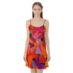 Geo Fun 8 Hot Colors Satin Night Slip