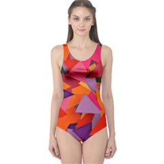 Geo Fun 8 Hot Colors Women s One Piece Swimsuits