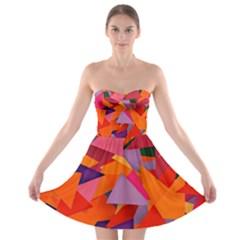 Geo Fun 8 Hot Colors Strapless Bra Top Dress