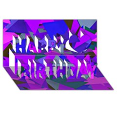 Geo Fun 8 Inky Blue Happy Birthday 3D Greeting Card (8x4)