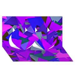 Geo Fun 8 Inky Blue Twin Hearts 3D Greeting Card (8x4)