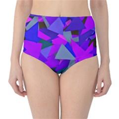 Geo Fun 8 Inky Blue High-Waist Bikini Bottoms