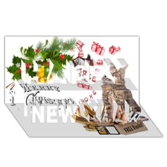 Free books for Christmas Happy New Year 3D Greeting Card (8x4)