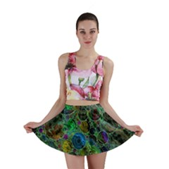 Lovely Allover Bubble Shapes Green Mini Skirts