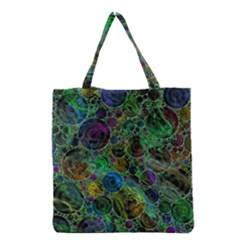 Lovely Allover Bubble Shapes Green Grocery Tote Bags