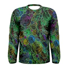Lovely Allover Bubble Shapes Green Men s Long Sleeve T-shirts