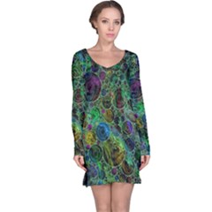 Lovely Allover Bubble Shapes Green Long Sleeve Nightdresses