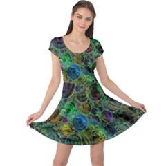 Lovely Allover Bubble Shapes Green Cap Sleeve Dresses