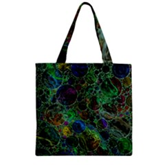 Lovely Allover Bubble Shapes Green Zipper Grocery Tote Bags