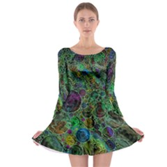 Lovely Allover Bubble Shapes Green Long Sleeve Skater Dress