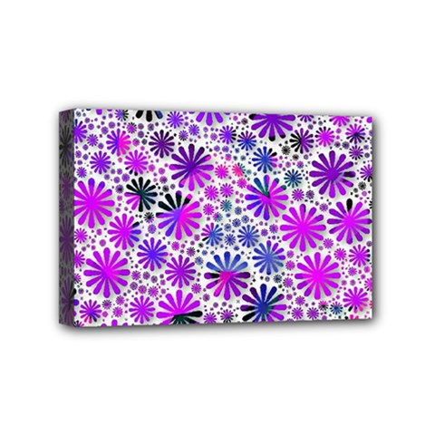 Lovely Allover Flower Shapes Pink Mini Canvas 6  X 4