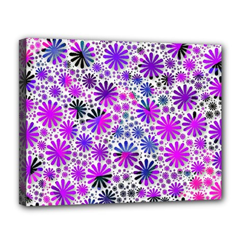 Lovely Allover Flower Shapes Pink Canvas 14  x 11