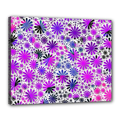 Lovely Allover Flower Shapes Pink Canvas 20  x 16
