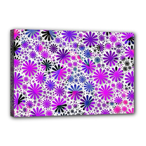 Lovely Allover Flower Shapes Pink Canvas 18  x 12