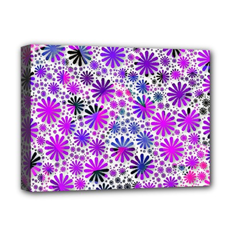 Lovely Allover Flower Shapes Pink Deluxe Canvas 16  x 12