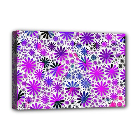 Lovely Allover Flower Shapes Pink Deluxe Canvas 18  x 12